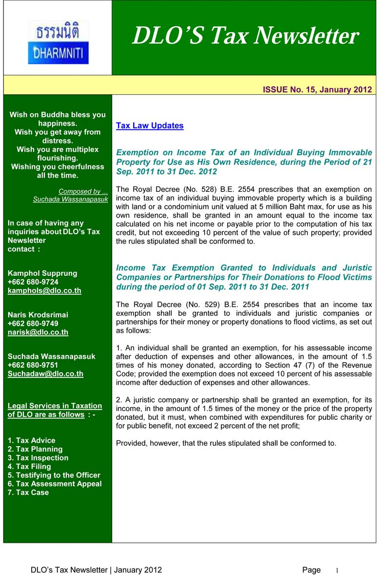 DLO'S TAX NEWSLETTER JANUARY 2012-ENGLISH