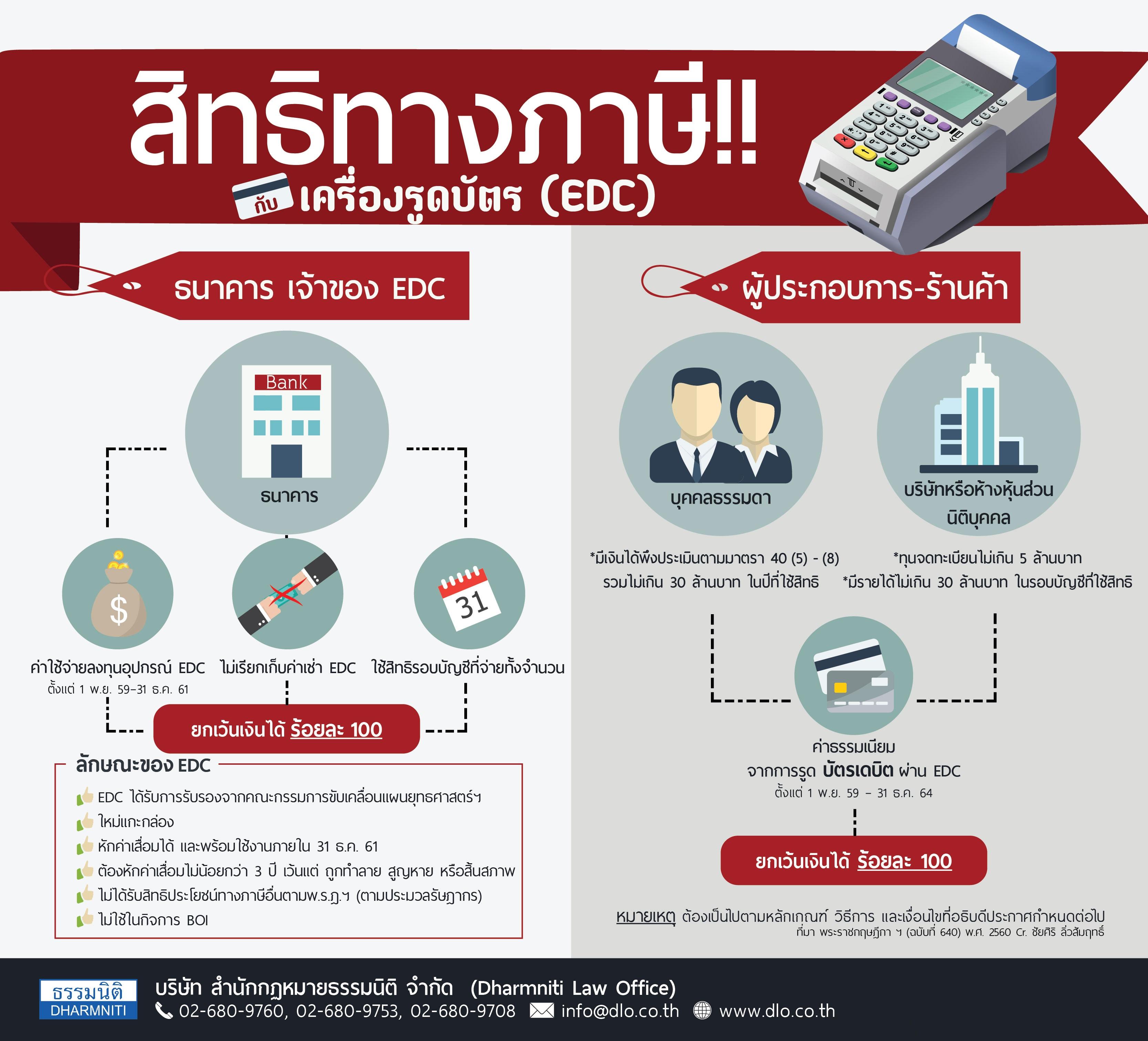 สิทธิทางภาษีกับอุปกรณ์รับชำระเงินทางอิเล็กทรอนิกส์ (EDC)