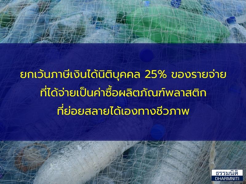 ยกเว้นภาษีเงินได้นิติบุคคล 25% ของรายจ่ายที่ได้จ่ายเป็นค่าซื้อผลิตภัณฑ์พลาสติกที่ย่อยสลายได้เองทางชีวภาพ